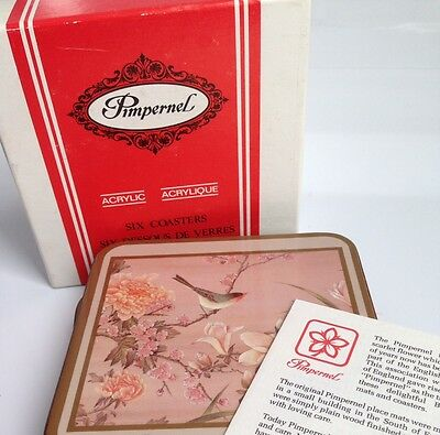 PIMPERNEL Oriental Birds + Flowers, Coasters,,England, Set of 6 IN BOX