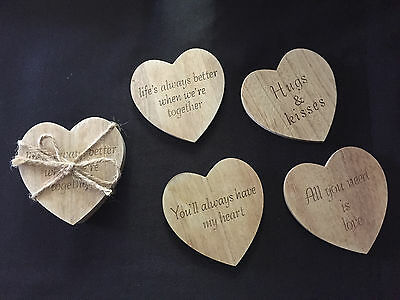 Set of 4 Shabby Chic Wooden Heart Shape Drink Coasters with Love Verses