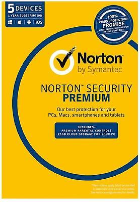 Norton Security Premium 2017 5 Device 1Year NEXT DAY DELIERY, SEND KEY FREE POST