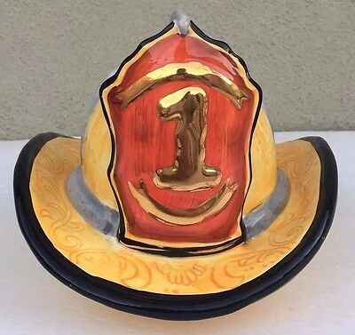 Firefighter Fireman Ceramic Yellow Red Hat Helmet #1
