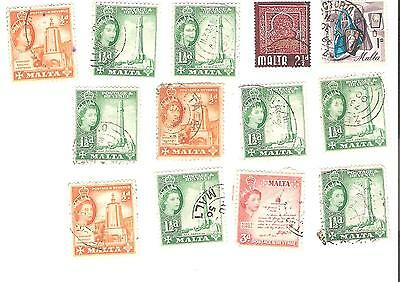 Lot of 13 old stamps from Malta