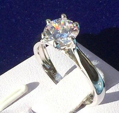 1.25ct 7mm Solitaire Simulated Diamond Real 925 Silver Engagement Ring Size 4-12