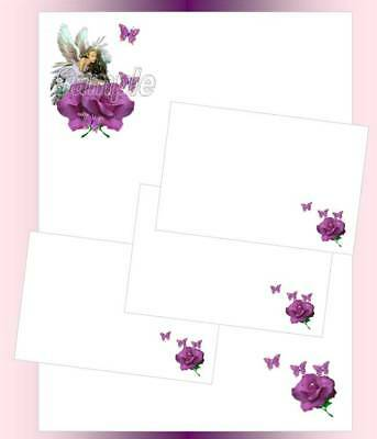 Purple Rose Fairy Letter Writing Stationery Paper Set