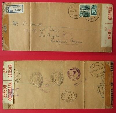 SOUTH AFRICA to USA 1944 registered cover KIMBERLEY censor WW2 stamps RSA