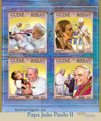 Guinea-Bissau 2016 MNH Pope John Paul II 4v M/S Mother Teresa Stamps