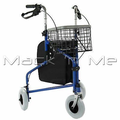 Tri Rollator Walker Walking Frame Foldable Mobility Aid Height Adjustable Steel