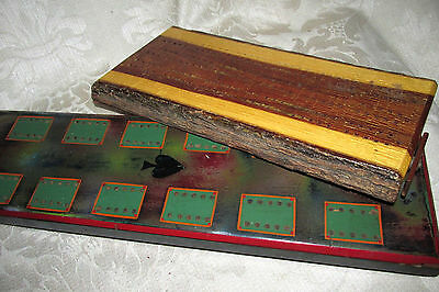 Vintage Antique 2x. Cribbage Boards Mulga Wood & H/ Crafted Timber