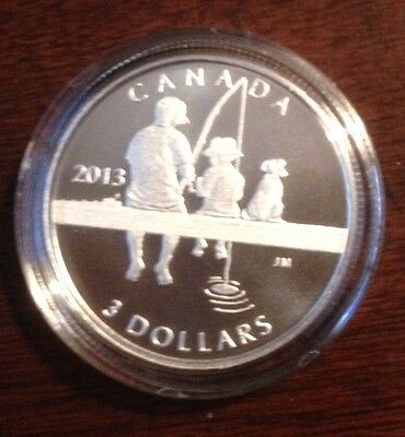 2013 'Fishing' Proof $3 Silver Coin .9999 Fine
