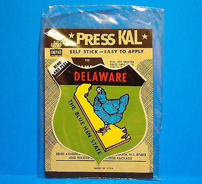 Vintage Authentic Press Kal Travel Decal - Delaware - State Map - Blue Hen