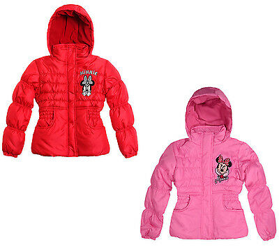 Girls Disney Minnie Mouse Coat Padded Winter Hooded Jacket 2-8 Years Bnwt