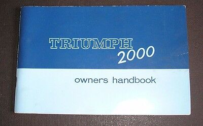 VINTAGE TRIUMPH 2000 SALOON CAR OWNERS HANDBOOK ,1960s