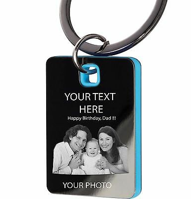 Personalised Keyring engraved with photo text or logo Gift Wedding Birthday. Box