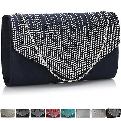 Ivory Bridal Satin Clutch Red Nude Navy Wedding Bridesmaid Ladies Evening Bag UK