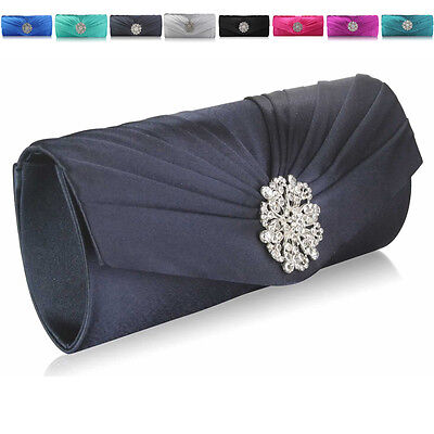 Plain Satin Baguette Diamante Wedding Women Clutch Bridesmaid Ladies Evening Bag