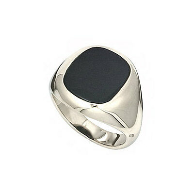 Gents Sterling Silver Signet Ring Set Cushion Black Onyx