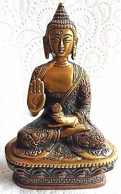 Antique Buddha Medicine Large Budha Brass 6.8'' HEAVY Meditation hand carved