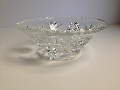 Vintage 1960s Pressed Cut Glass Candy Nut Footed Bowl Scalloped Edge Retro