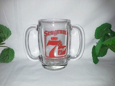VINTAGE SEAGRAM'S 7 & 7 UP GLASS MUG w/ DOUBLE HANDLES by Anchor Hocking 1981
