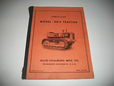 Allis-Chalmers Model Hd5 Crawler Tractor Illustrated Parts List Catalog Clean