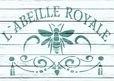 A5 stencil French L'ABEILLE ROYALE vintage,ShabbyChic,fabric, furniture, paint,