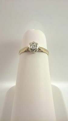 Antique Victorian 9ct gold solitaire diamond ring Sheffield 1859 size K