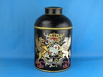 Vintage Tole Ware Painted Tea Canister Tin. Painted Armorial Crest, Coat of Arms