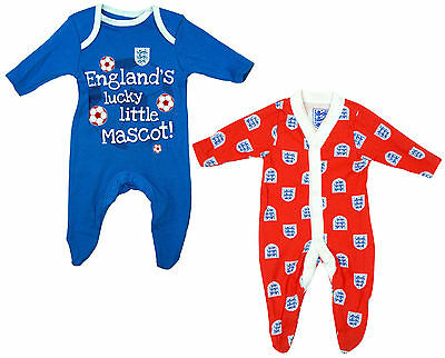 Baby Boys England Little Mascot 2 Pack Sleepsuit Rompers 0-24M Ex Store Bnwt