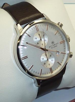 ACCURIST Gents 7078 Chronograph Stainless Steel Case Leather Strap RRP £110