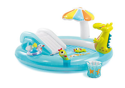 Intex 57431 Piscina gonfiabile per bambini Alligatore Play Center con scivolo Gi