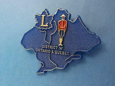 Lions Club Canadian Mountie Ontario Quebec Pin Hat Pinback Plastic  Button