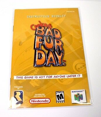 Conker Bad Fur Day Manual Nintendo 64 N64 Very Good Condition