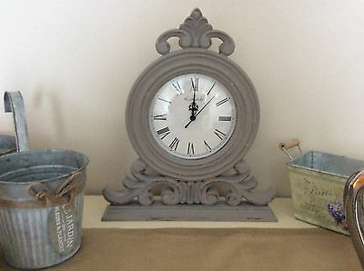 Shabby Chic Grey Mantel Clock French Style Painted Distressed
