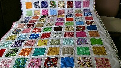 Girl Boy Handmade Handcrafted Pieced Scrappy Squares Baby Lap Crib Throw Quilt
