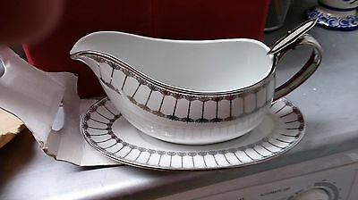 Ciroa Porcelain Luxe Florence Pattern Gravy Boat & Underliner Plate New In Box