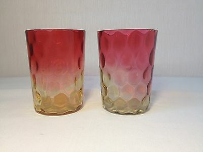 Pair Antique Hobbs Brockunier Amberina Glass Tumblers