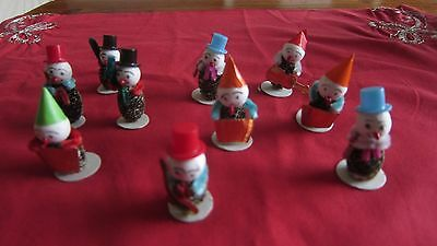 10 Vtg Christmas PINE CONE Elf Elves Snowmen Guitar accordian Ornaments Japan