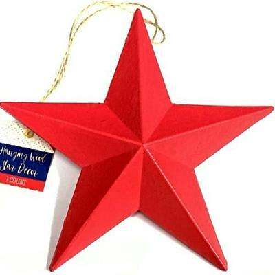 """Case Lot of 16 Wood 7"""" Barn Star Hanging Decor (Red, White & Blue)"""