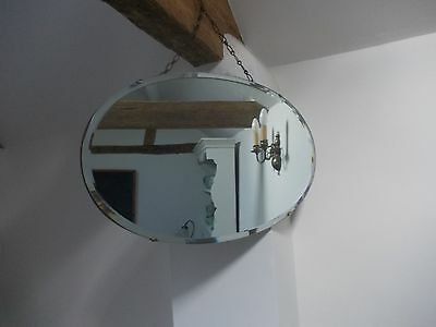 Vintage Art Deco Frameless Bevelled Oval Wall Mirror With Chain