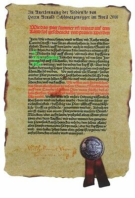 Certificate: Deed with YOUR NAME   German Beer Purity Law Document from 1516