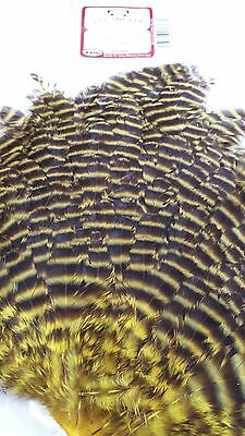 """Wapsi  Grizzly Hen Saddle Patch  """" Yellow """" Flt Tying Wet,streamer"""