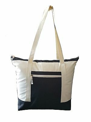 "20"" Beach Poly-Tote Bag Two-Toned Shopping Tote Bag Cotton Reusable Grocery Bag"