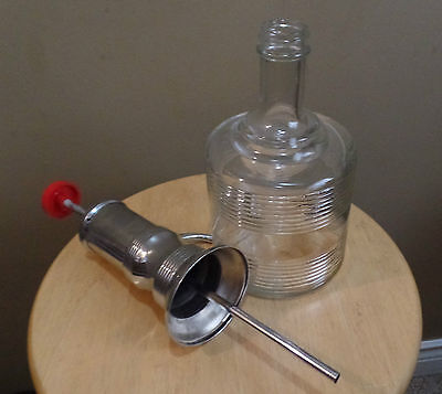 Vintage CHROME and GLASS Soda Fountain Syrup Diner Pump DISPENSER~1950's
