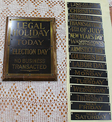 BANKERS BRASS SIGN CIRCA 1920s Legal Holiday Vintage Banking Bank Sign Embossed
