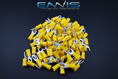 10-12 Gauge Vinyl Spade # 10 50 Pk Crimp Terminal Connector Yellow Awg Ga Car