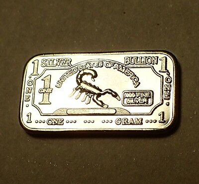 2 Different Designs - 1 Gram 999 Fine Silver Bullion Bars SCORPION ACE OF CLUBS