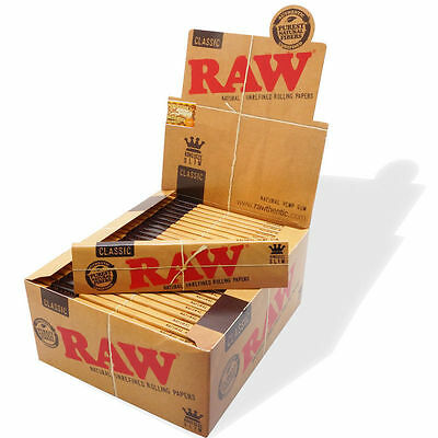 RAW  Classic Natural Unrefined Rolling Papers Kingsize Slim 1,3,6,12,24 & 50