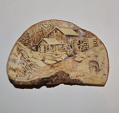 Gino Guidici Tree Conk Burned Wood Carved Desk Wall Art Rustic Country Mill Barn