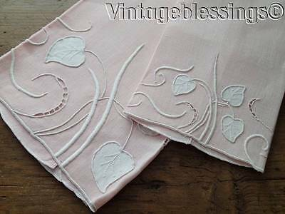 Pretty Set Of Two Pink Madeira Marghab Water Leaf TOWELS Vintage Beauties