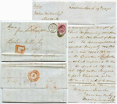 GB 1875 LETTER QV 3d + L2 BOXED LATE FEE via SHIP MAIN..ZOPHAR MILLS NY PAID ALL