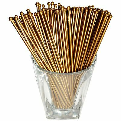 Royer 6 Inch Plastic Round Top Swizzle Sticks Set of 48 Gold - Made In USA